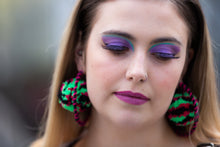 Black, Green and Pink Pom Pom Hoop Earrings