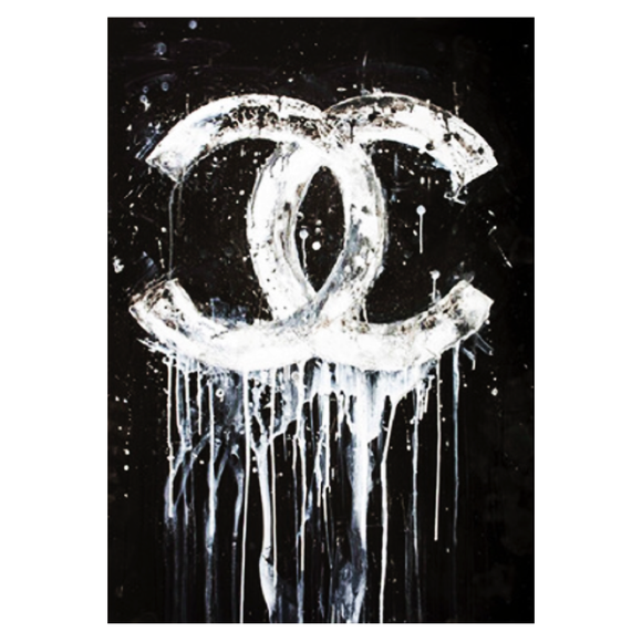 Dripping Chanel Print Chrome Frame 914x1525