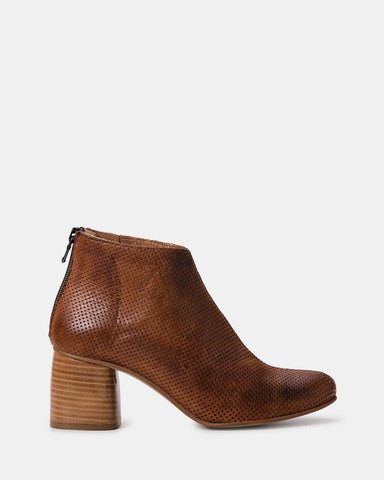 Pillar Leather Ankle Boot in Oat or Toffee Colour