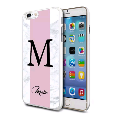 Pink Marble Initial Name Personalised Case