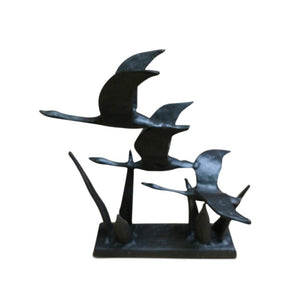 3 Birds Flying Geese Metal Sculpture Cast Iron Metal Figurine - Rustic Deco Incorporated