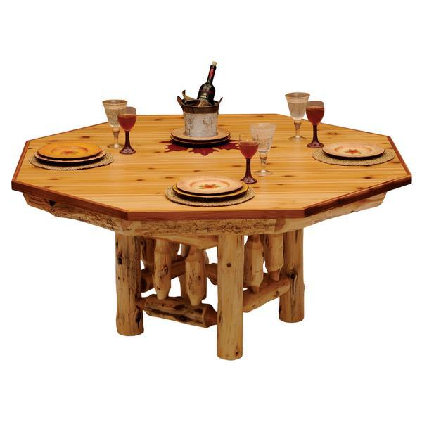 8-sided Cedar Log Poker Table - Armor Finish Top - Optional Dining Table Cover in 3 finishes - Rustic Deco Incorporated