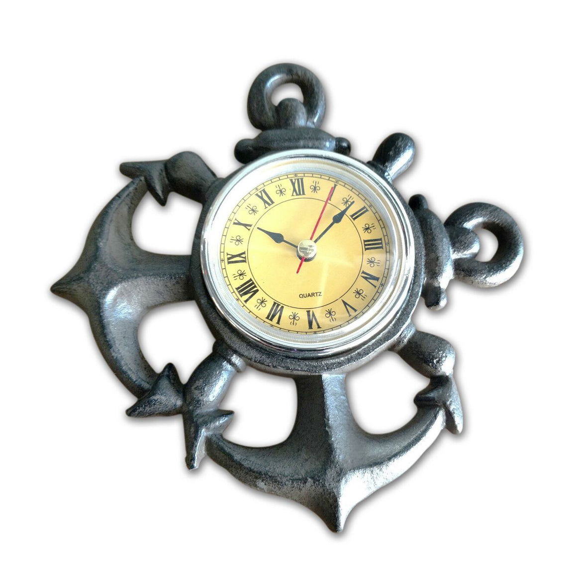 Anchor Design Wall Clock- Cast Iron - Rustic Deco Incorporated