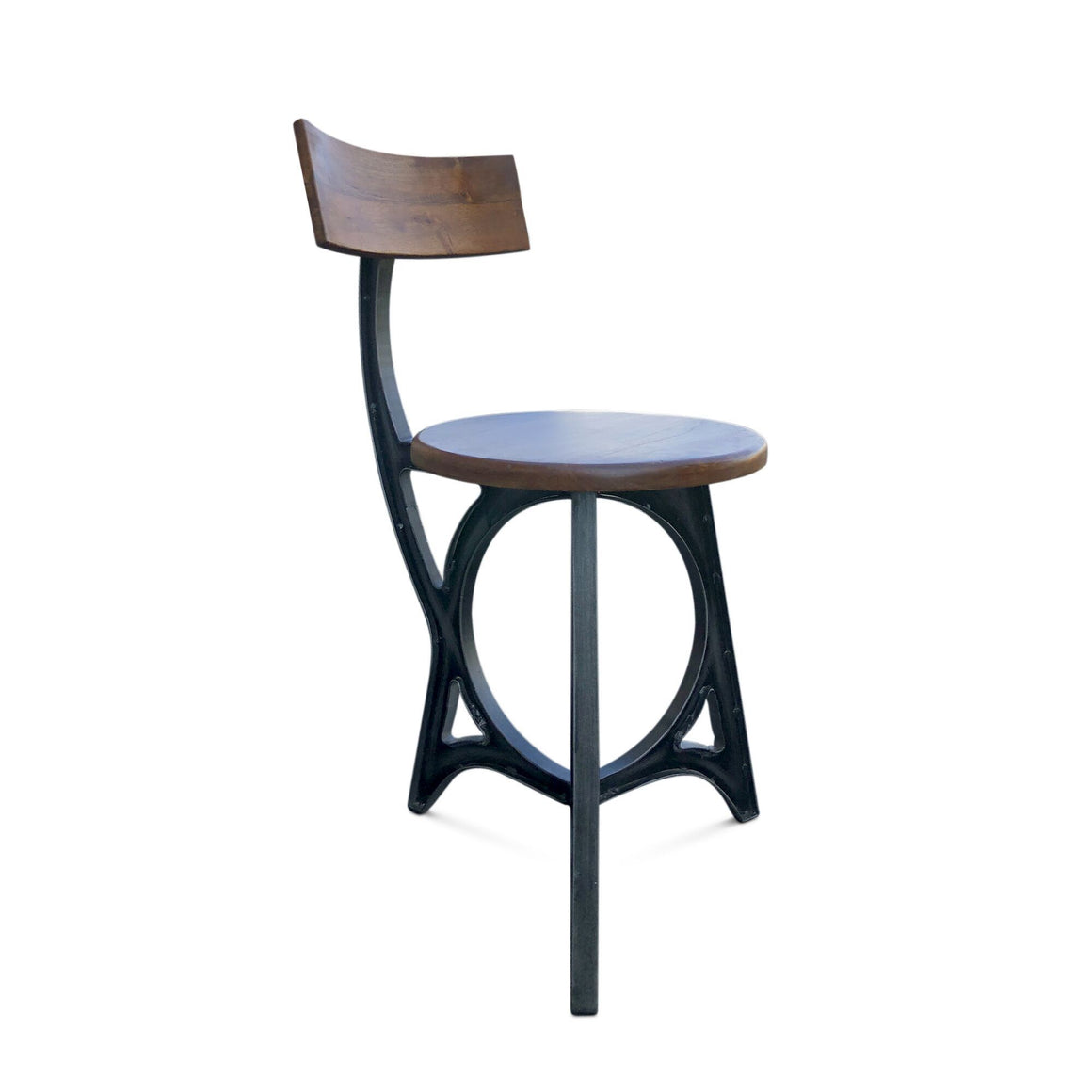 Art Deco Industrial Dining Chair - Iron - Solid Wood - Rustic Deco Incorporated