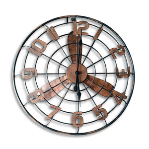 Art Deco Large Fan Design Metal Wall Clock - Rustic Deco Incorporated