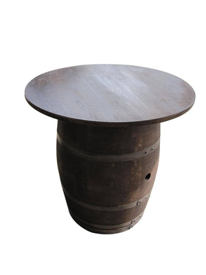 Authentic Oak French Barrel Pub Table - Custom Built Sizes for Top - Rustic Deco Incorporated