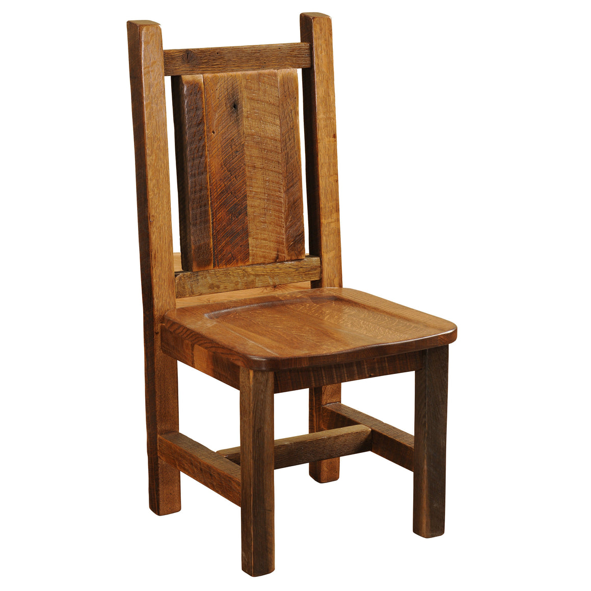 Barnwood Artisan Dining Side Chair -  Antique Oak Seat - Rustic Deco Incorporated
