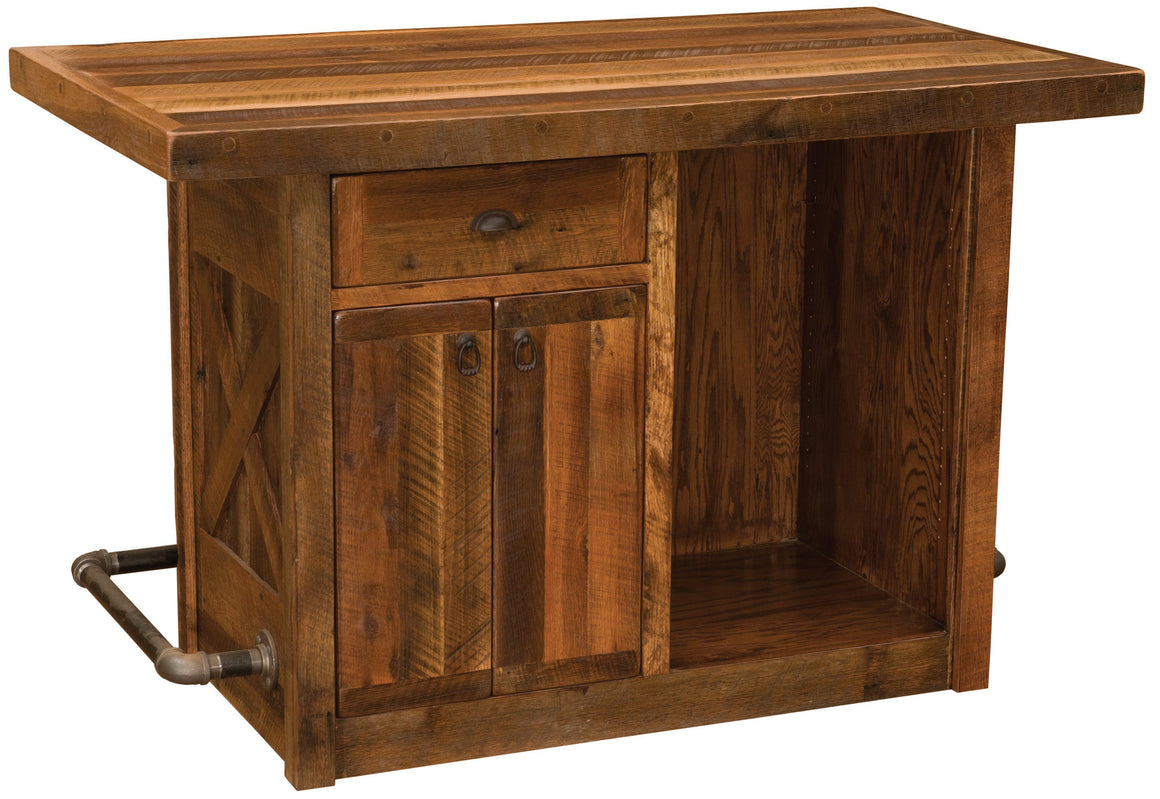 Barnwood Bar - 5 Foot with Artisan Top - Laminate Top - Standard Finish - Rustic Deco Incorporated