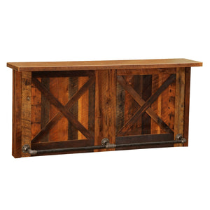 Barnwood Bar - 7.5' Artisan Bar Tops - Refrigerator Opening - Cabinet - Rustic Deco Incorporated