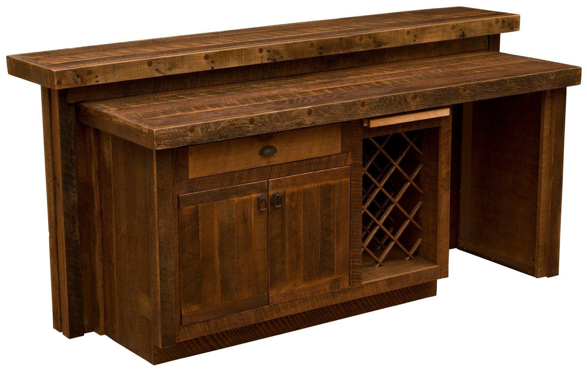 Barnwood Bar Corrugated Steel - 7' Artisan Bar Top - Refrigerator Opening - Sink Cabinet - Rustic Deco Incorporated