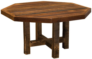 "Barnwood Octagon Dining Table - 48"" 54"" with Antique Oak Top and Artisan Top - Rustic Deco Incorporated"