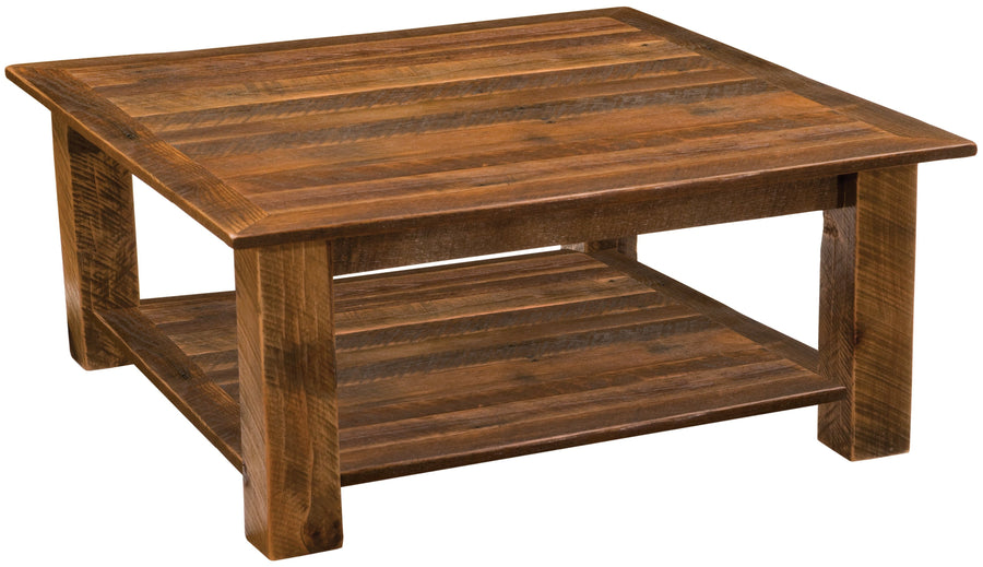 "Barnwood Open Square Coffee Table with shelf - 34"" x 34"" and  42"" x 42"" - Rustic Deco Incorporated"