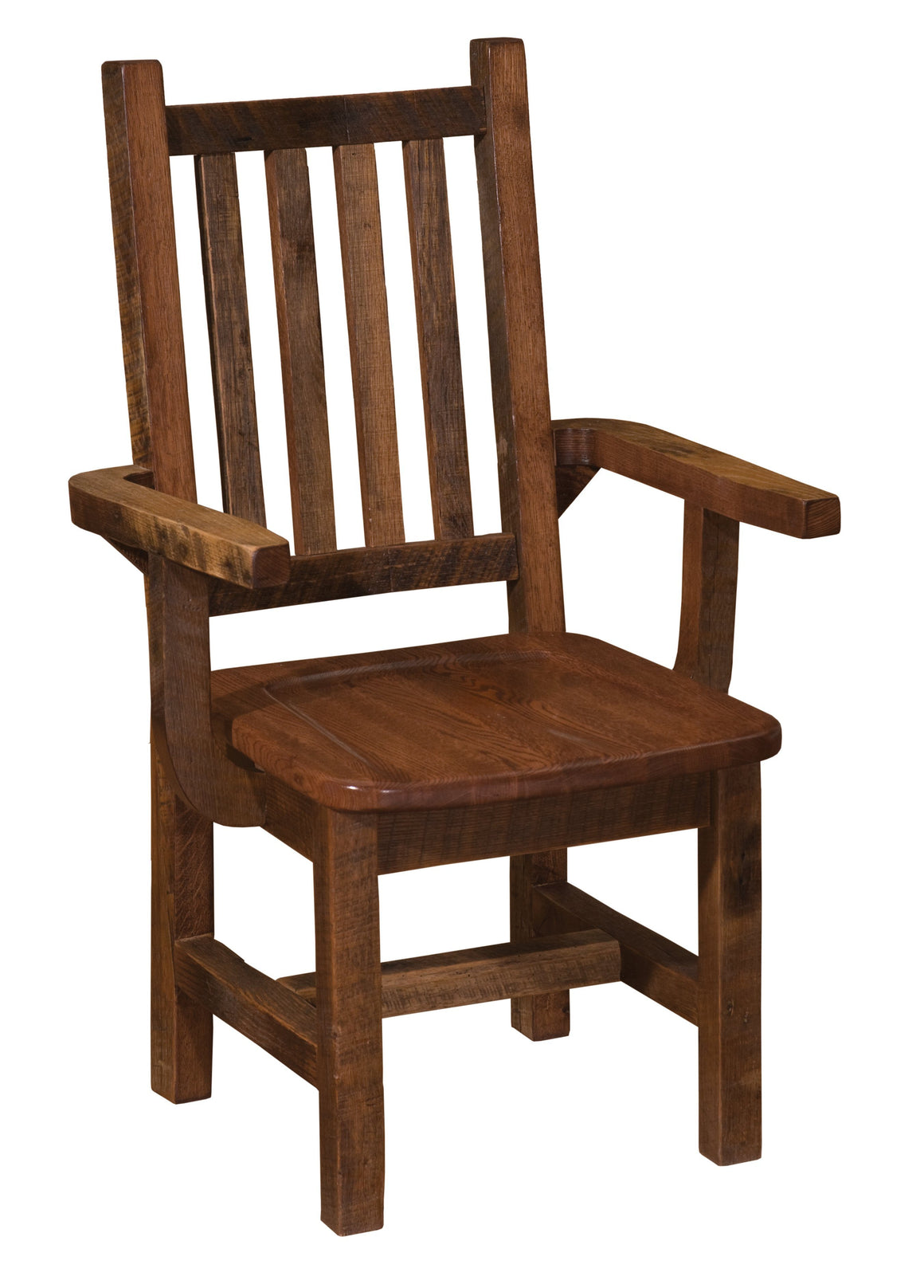 Barnwood Prairie Dining Arm Chair -  Antique Oak Seat - Rustic Deco Incorporated