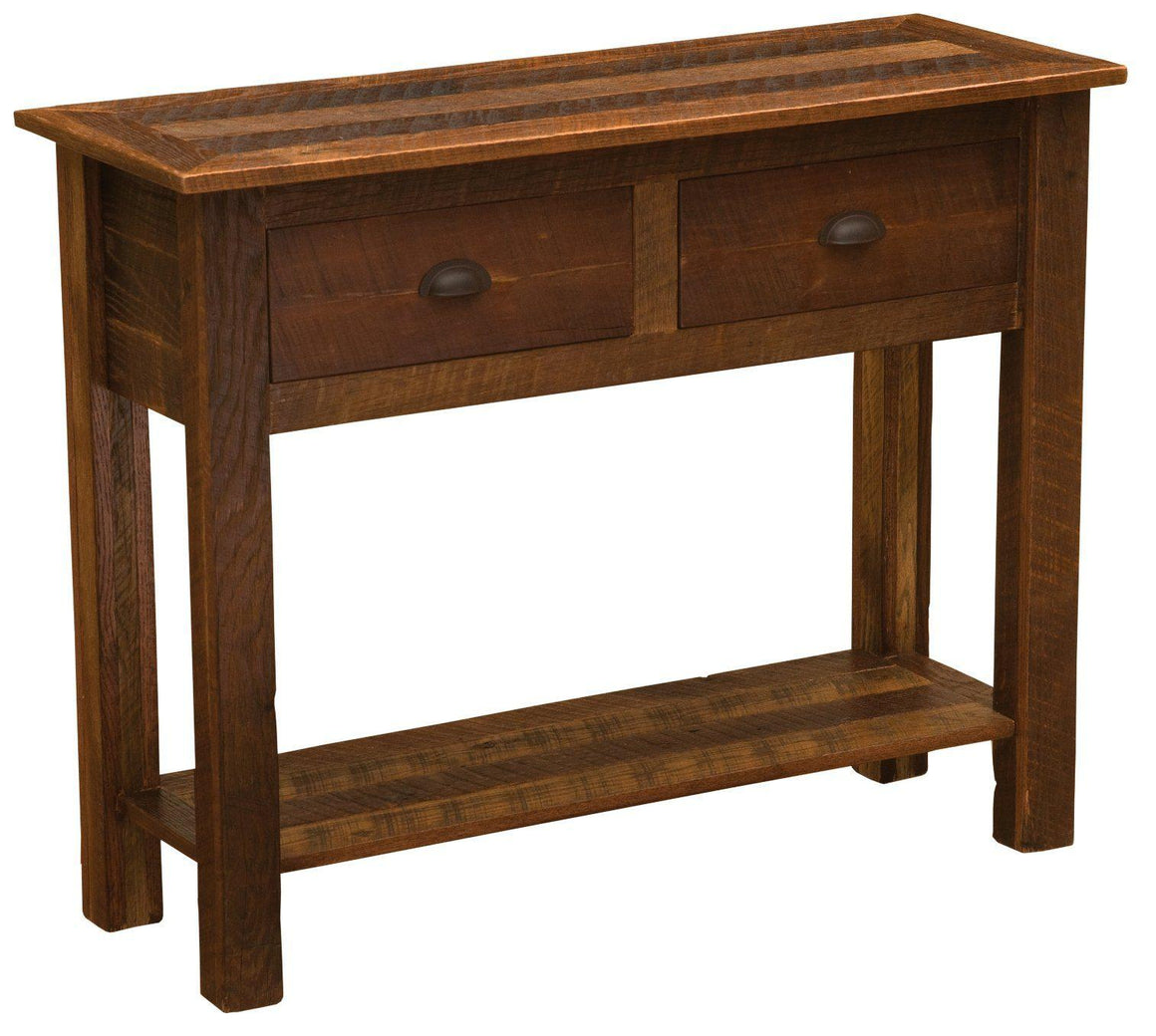 Barnwood Two Drawer Sofa Table with shelf - Barnwood Legs - Rustic Deco Incorporated