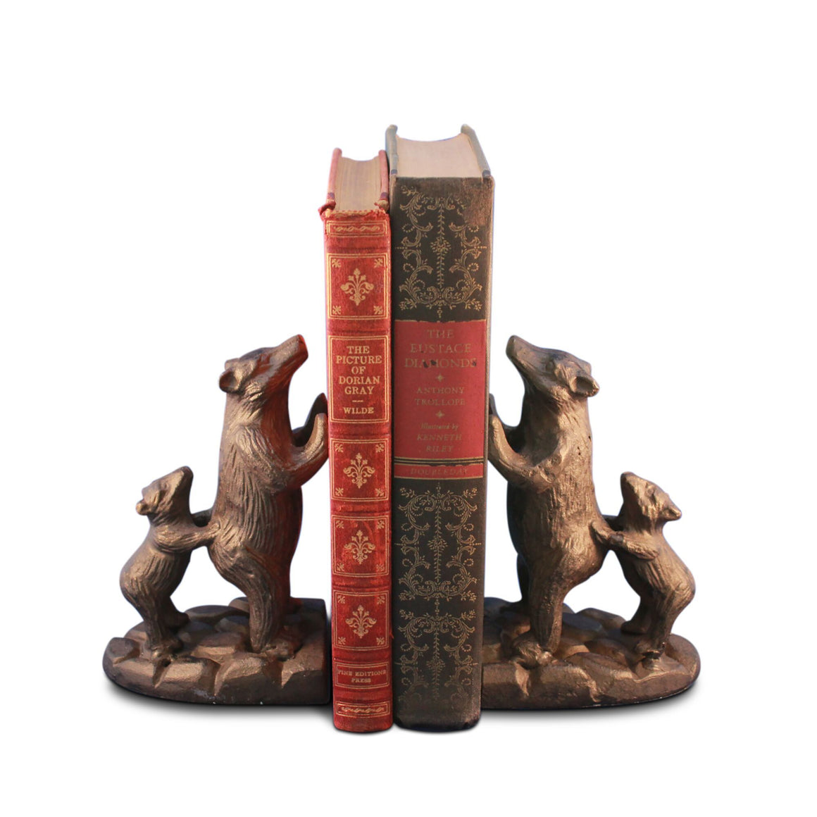 Bear Family with Cubs Bookends Figurine - Metal - Cast Iron - Pair - Rustic Deco Incorporated