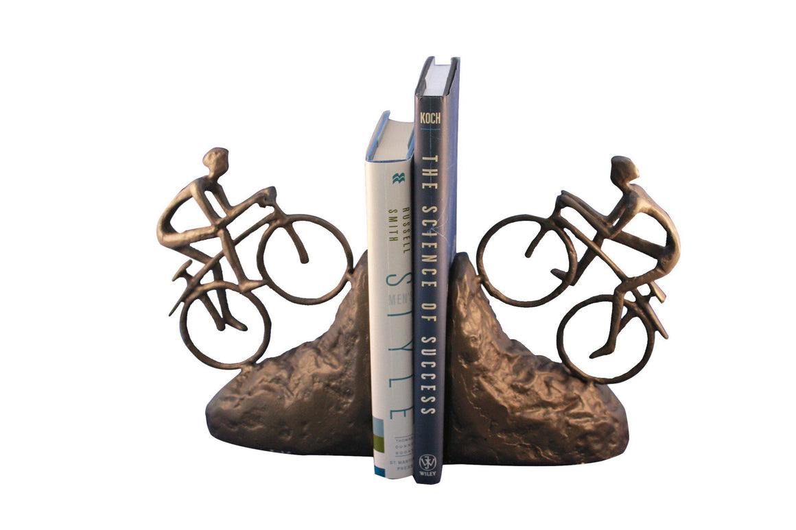 Bike Climbing Bookends - Mountain Bike - Metal - Cast Iron - Rustic Deco Incorporated