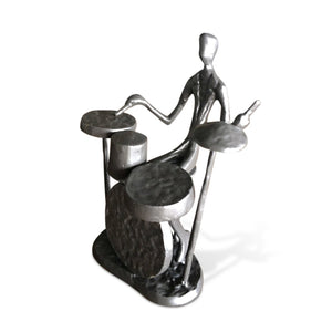 Cast Iron Musician Playing Drums Sculpture - Rustic Deco Incorporated