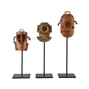 Diver Helmets - Antique Solid Brass Diver's Helmet Figurine - Set of 3 - Rustic Deco Incorporated