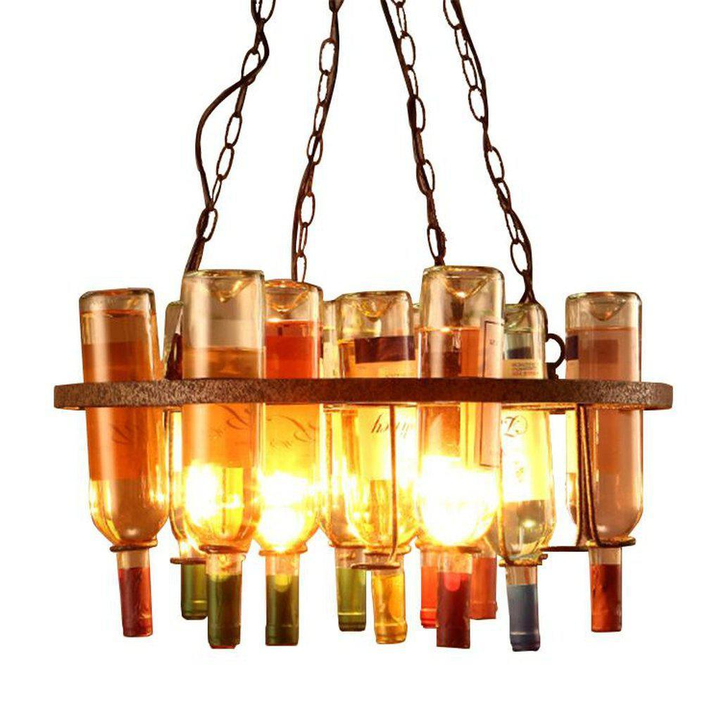 Eclectic Wine Bottle Holder Chandelier - Light Fixture - Rustic Farmhouse - Rustic Deco Incorporated