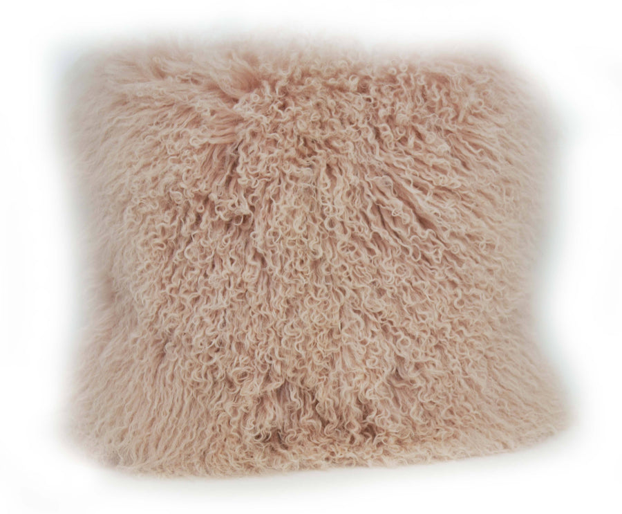 Exotic Blush Pink Tibetan Sheep Pillow - Rustic Deco Incorporated