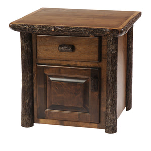 Hickory Log Enclosed End Accent Table - Hand Peeled - Custom Made USA - Rustic Deco Incorporated