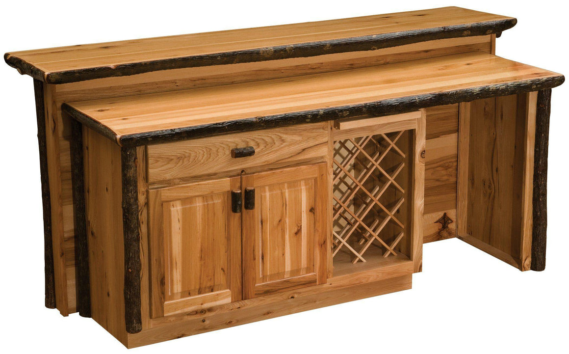 Hickory Log Home Bar - 92 inches -Cabin - Western - Armor Finish - Rustic Deco Incorporated