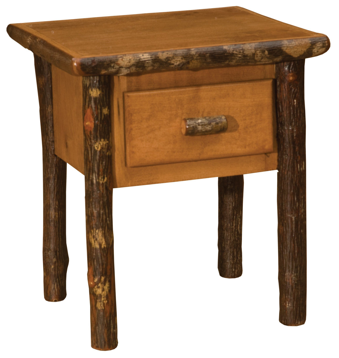 Hickory Log One Drawer End Side Accent Table - Authentic Custom USA - Rustic Deco Incorporated