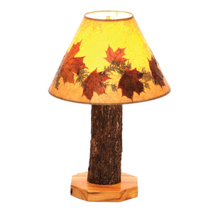 Hickory Log Table Lamp - with Large Foliage Lamp Shade - Rustic Deco Incorporated