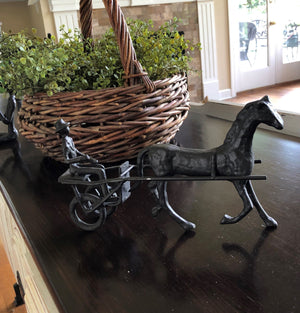 Horse & Cart Chariot Cast Iron Metal Sculpture Figurine - Rustic Deco Incorporated