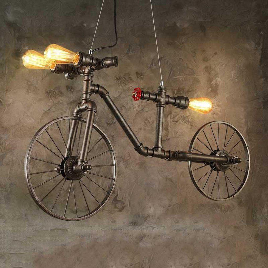Industrial Eclectic Pipe Bicycle Bike Pendant Light Lighting Rustic Deco