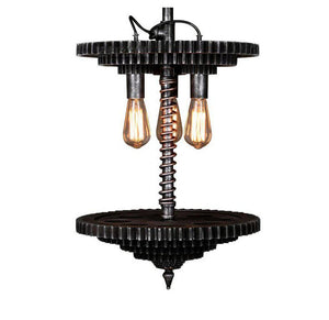 Industrial Steampunk Pendant Lamp - Stacked Sprockets - Gears Lighting Rustic Deco