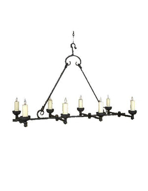 "Large 8 Light Rustic Hand Forged Chandelier 54"" Long - Venti Lighting Ashore"