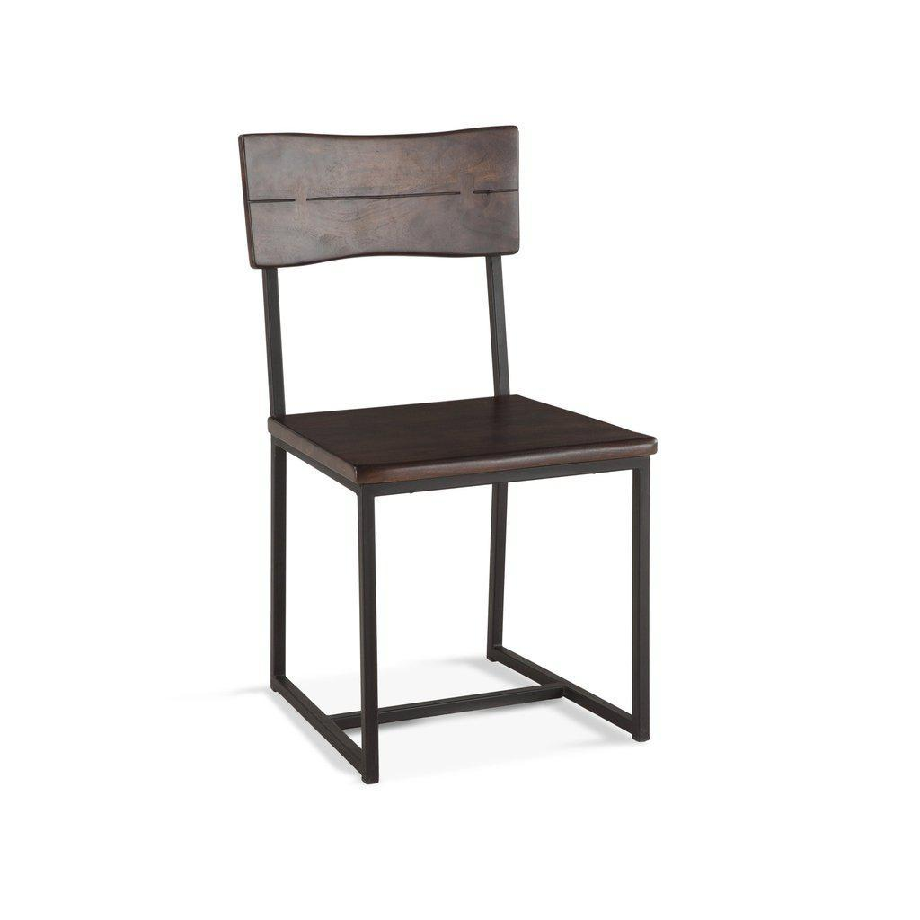 Modern Industrial Dining Chair Dark Walnut - Cast Iron and Acacia-Set of 2 Chair HT&D