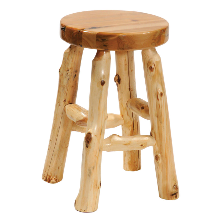 "Natural Cedar Log Round Bar Stool - 30"" Seat Height - with Liquid Glass Finish Seat Stool Fireside Lodge"