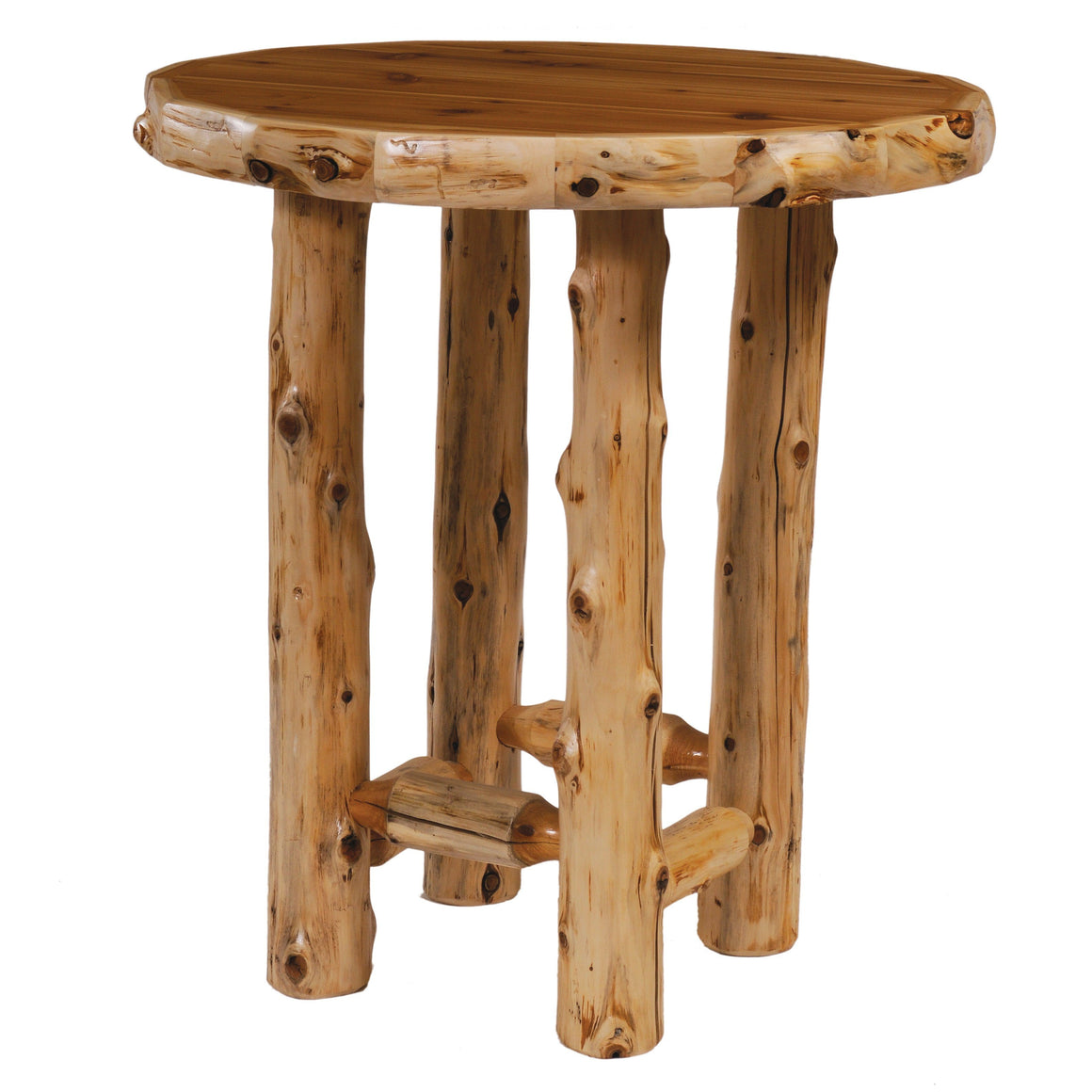 Natural Cedar Log Round Pub Table 32-36-38 Inch Game Fireside Lodge 32-Inch Standard Finish