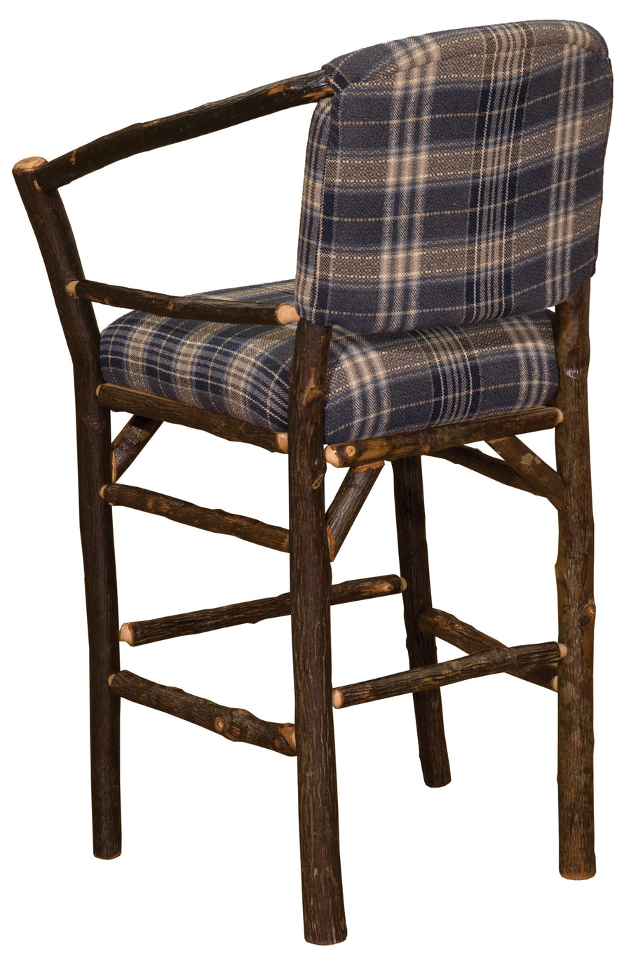 "Natural Hickory Log Hoop Bar Stool - 24"" high - With Upholstered Seat - Standard Finish Stool Fireside Lodge Customer's Own Material"