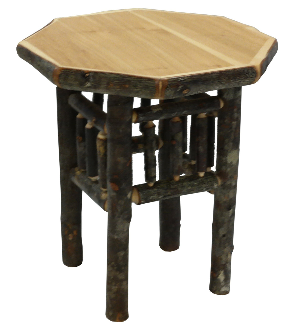 Natural Hickory Log Octagon End Table - Standard Finish Side Table Fireside Lodge Espresso