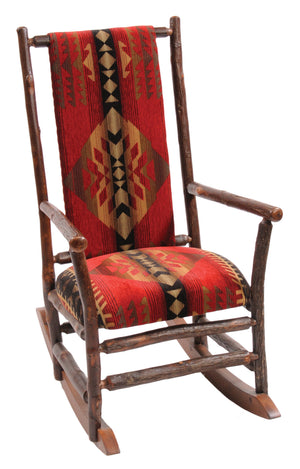 Natural Hickory Log Rocking Chair with Upholstered Seat & Back Chair Fireside Lodge Customer's Own Material