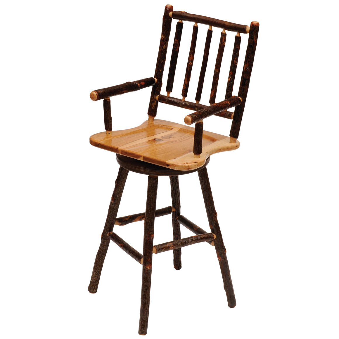 "Natural Hickory Log Swivel Bar Stool With Arms - 30"" high - Standard Finish Stool Fireside Lodge Antique Oak - Wood Seat"