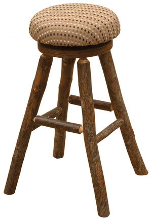 "Natural Hickory Log Swivel Round Counter Stool with Upholstered Seat - 24"" Stool Fireside Lodge Customer's Own Material"