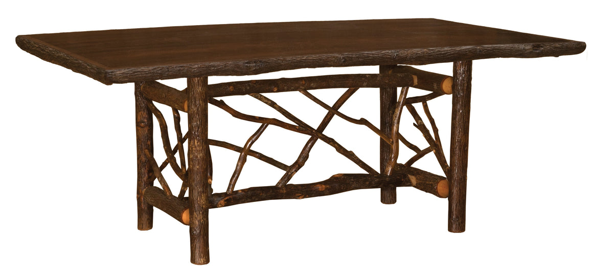 Hickory Twig Log Dining Table Ornate Bark On Legs Custom Sizes Armor Finish - Rustic Deco Incorporated