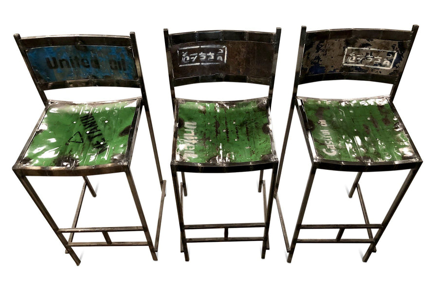 Reclaimed Steel Drum Bar Stools Pair of 2 Bar Chairs Chair Rustic Deco