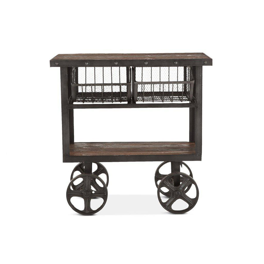 "Rustic Industrial Metal Bar Cart 36"" - Cast Iron Reclaimed Hardwood - Walnut Stain Cart HT&D"