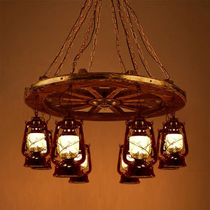 Rustic Wagon Wheel with Lantern Light Chandelier Lighting Rustic Deco