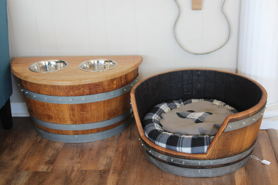 Rustic Wine Barrel Pet Bed - Dog Bed - Cat Bed - Custom Pet Product Barrel Art