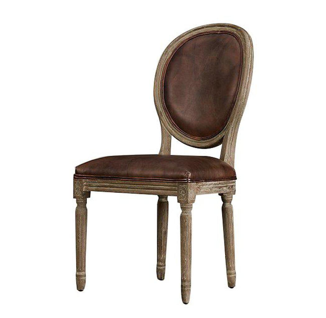 Set of 2 Classic French Empire Style Leather Dining Chair - French Country Chair Rustic Deco