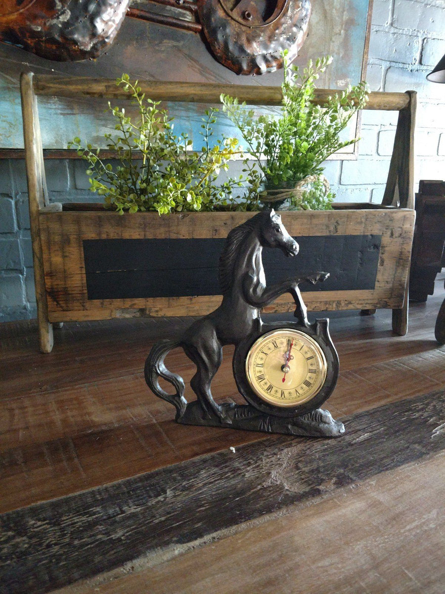 Stallion Table Clock- Cast Iron Wall Clock Rustic Deco