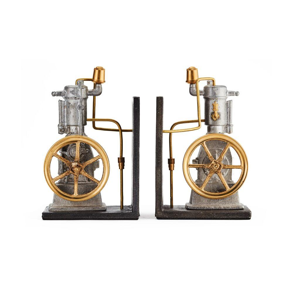 Steampunk Vertical Engine Bookends - Cast Metal - Solid Brass Fittings - Vintage Industrial Bookends Pendulux