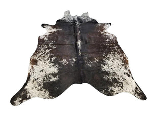 Tri-Color Black White Brown Speck Brazilian Cowhide Rug Wall Hanging XL 6x8' Rug Chesterfields