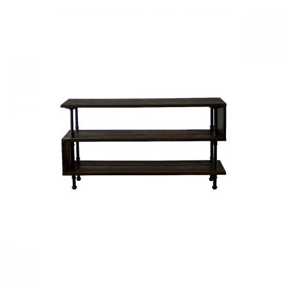 Tucson Modern Industrial Pipe TV Stand Console Rustic Deco Incorporated Black with Dark Stain